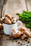 Mushrooms champignons in mug and spices on table Royalty Free Stock Image