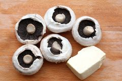 Mushrooms and cheese Stock Image