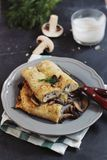 Mushrooms and chicken crepes Royalty Free Stock Photography