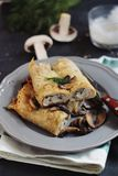 Mushrooms and chicken crepes Stock Photos
