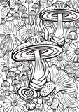 Mushrooms Coloring antistress book page Stock Images