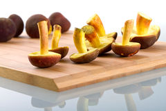 Mushrooms for cooking close up. Boletus badius mushrooms on the cutting board Stock Photo