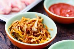 Mushrooms cooking ingredient. Mushrooms and cooking ingredients for making asian dish Royalty Free Stock Image
