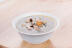Mushrooms cream soup with agaric Stock Images