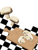 Mushrooms on cutting board Stock Photography