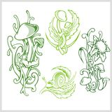 Mushrooms design for tattoo. Vector illustration. Stock Photos