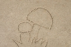 Mushrooms drawing in sand Royalty Free Stock Image