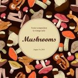 Mushrooms. Engraving. Round frame. Stock Image