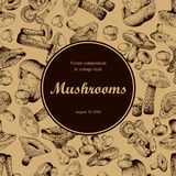 Mushrooms. Engraving. Round frame. Royalty Free Stock Photo