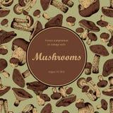 Mushrooms. Engraving. Round frame. Stock Photos