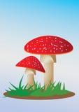 Mushrooms. Fairy tales cute mushroom with blue sky royalty free illustration