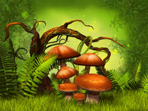 Mushrooms fantasy forest Stock Image