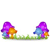 Mushrooms in Field Clip Art 2. A clip art background illustration featuring a number of colorful mushrooms in a grassy meadow Stock Image