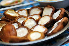 Mushrooms with fish paste Royalty Free Stock Image
