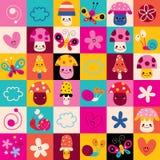 Mushrooms, flowers, butterflies, hearts, snails nature kids pattern Stock Photos