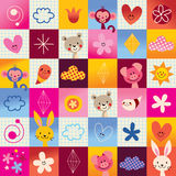 Mushrooms, flowers, butterflies, hearts, snails nature pattern Royalty Free Stock Photo