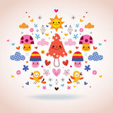 Mushrooms, flowers, hearts & birds illustration Stock Images