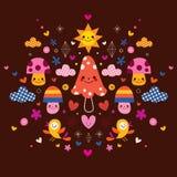 Mushrooms, flowers, hearts & birds stylized nature illustration Royalty Free Stock Photo