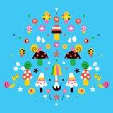 Mushrooms, flowers & snails nature illustration Stock Photo