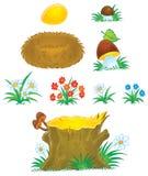 Mushrooms, flowers, stump and nest Stock Image