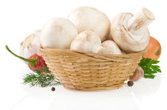 Mushrooms and food ingredient on whit Royalty Free Stock Photography
