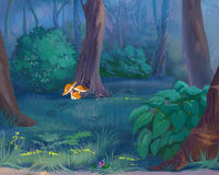 Mushrooms in a Forest. Digital Painting, Illustration of a Mushrooms in a forest. Cartoon Style Character, Fairy Tale Story Background Royalty Free Stock Photography