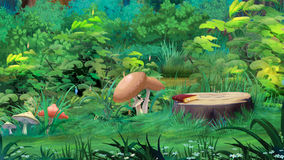 Mushrooms in a Forest Glade. Digital painting of the mushrooms in a forest glade Stock Image