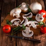 Mushrooms fresh mushrooms with vegetables royalty free stock photography