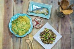 Mushrooms fried egg, Fried Tuna , Shrimp paste chili sauce, Omelet Royalty Free Stock Photos