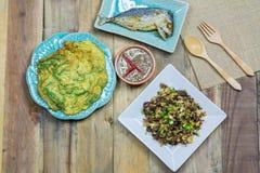 Mushrooms fried egg, Fried Tuna , Shrimp paste chili sauce, Omelet Stock Photos