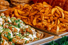 Mushrooms and fried potatoes Royalty Free Stock Photo