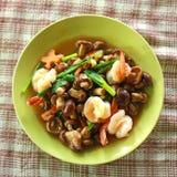 Mushrooms fried shrimp Stock Photography