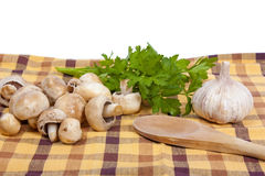 Mushrooms and garlic with parsley Royalty Free Stock Images
