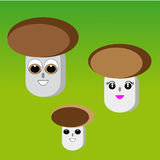 Mushrooms on green background. Vector illustration Stock Photography