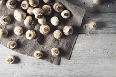 Mushrooms on the grey napkin on the white wooden table horizontal Royalty Free Stock Image