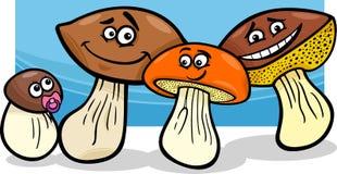 Mushrooms group cartoon illustration Stock Image