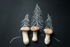 Mushrooms growing in forest. Dark food background Stock Image