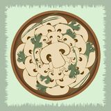 Mushrooms with herbs on a plate. Vector illustration on a green background. vector illustration