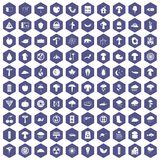 100 mushrooms icons hexagon purple Royalty Free Stock Photo