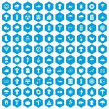 100 mushrooms icons set blue. 100 mushrooms icons set in blue hexagon isolated vector illustration vector illustration