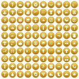 100 mushrooms icons set gold. 100 mushrooms icons set in gold circle isolated on white vector illustration Royalty Free Stock Images