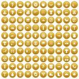 100 mushrooms icons set gold. 100 mushrooms icons set in gold circle isolated on white vector illustration stock illustration