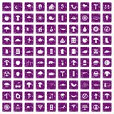 100 mushrooms icons set grunge purple. 100 mushrooms icons set in grunge style purple color isolated on white background vector illustration Royalty Free Stock Photography