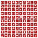 100 mushrooms icons set grunge red Royalty Free Stock Photography