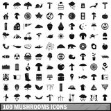 100 mushrooms icons set, simple style Stock Photo