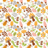 Mushrooms and insects pattern Royalty Free Stock Image