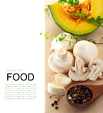Mushrooms and kabocha pumpkin Stock Photo