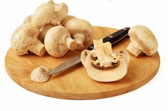 Mushrooms and a knife Stock Image