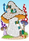 Mushrooms - labyrinth for kids. Stock Image