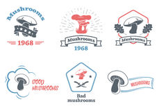 Mushrooms logo set. Design elements, icons, emblems and badges isolated on white background. Vector illustration. Royalty Free Stock Photo